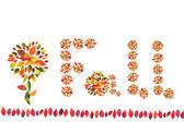 Caduta, decorazione fatta da foglie autunnali multicolori — Foto Stock