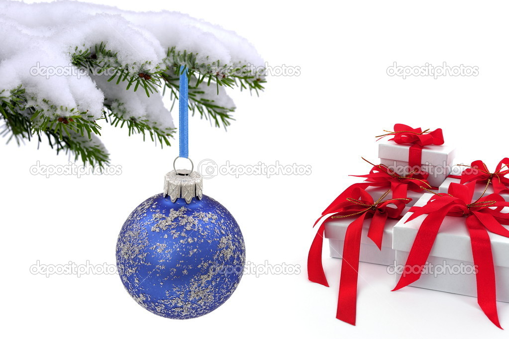 Christmas  tree over gift with red ribbon — Stock Photo #7177408