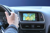 Night travel by car with gps system — Stock Photo