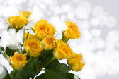 Beautiful yellow roses and hearts — Stock Photo