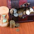 Open chest with coins and  hourglass — Stok fotoğraf