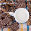Milk and cakes — Stock Photo