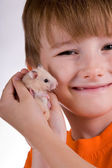Boy with a hamster — Stock Photo