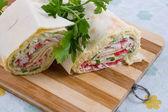 Pita roll with crab sticks — Stock Photo