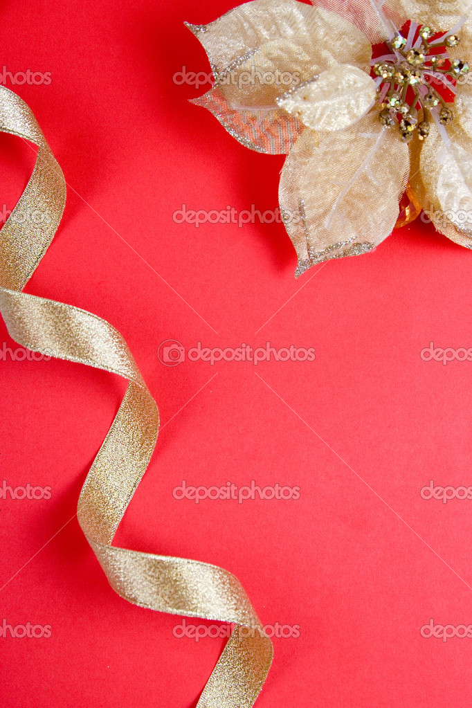 Christmas decor on a red background  Stock Photo #7211997