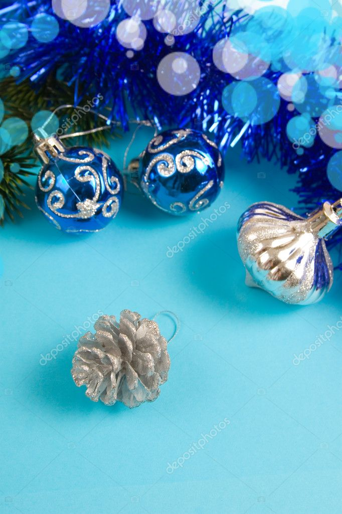 Christmas decor on a blue background  Stock Photo #7212136