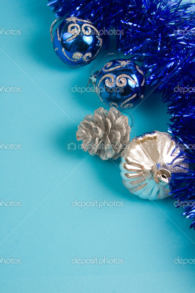 Christmas decor on a blue background  Foto de Stock   #7212164