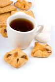 Cup of tea and biscuits — Stock Photo