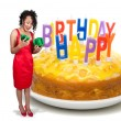 Black WomOpening birthday present — Stock Photo #7107494