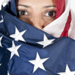 Arab Woman Wrapped in Flag — Stock Photo #7116898