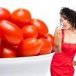 Black Woman and Cherry Tomatoes — Stock Photo #7117777