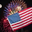 Fireworks at Full Moon — Stock Photo