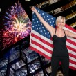 Stock Photo: Woman at Fireworks at Full Moon