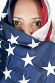 Arab Woman Wrapped in Flag — Stock Photo