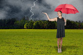 Woman Holding Umbrella — Stockfoto