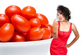 Black Woman and Cherry Tomatoes — Stock Photo