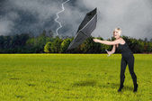Woman Holding Umbrella — Stock Photo
