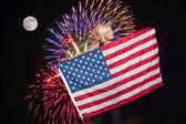 Fireworks at Full Moon — Stock Photo