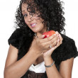 Black Woman with an Apple — Stock Photo