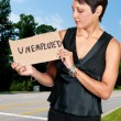 WomHolding Unemployment Sign — Stockfoto #7412193