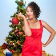 Black Woman Holding a Christmas Ornament — Stok fotoğraf