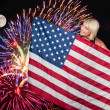 Woman at Fireworks at Full Moon — Stock Photo #7413410