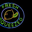 Neon Fresh Squeezed Lemon Sign - Stock Photo