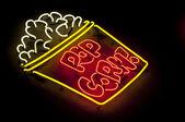 Neon Popcorn Sign — Stock Photo