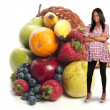 Black Woman with Assorted Fruits — Stock Photo