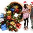 Foto de Stock  : Black Couple Opening Christmas or birthday present