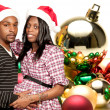 Black Couple wearing Christmas Santa Hats — Foto Stock