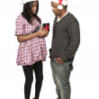 Black Couple Opening a Christmas or birthday present — Stock Photo #7891718
