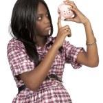 Woman holding piggy bank — Stock Photo #7891782