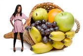 Pregnant Black Woman and a Fruit Cornucopia — Stock Photo