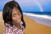 Black Woman at the Beach — Stock Photo