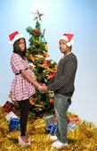 ожидали родители черный афроамериканец пара — Стоковое фото