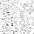 Set of floral seamless wallpaper — Stock Vector