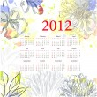 Floral calendar for 2012 — Stock Vector