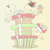 Szczęśliwe dzieci prezent — Wektor stockowy