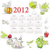 Calendario per il 2012 con la verdura — Vettoriale Stock
