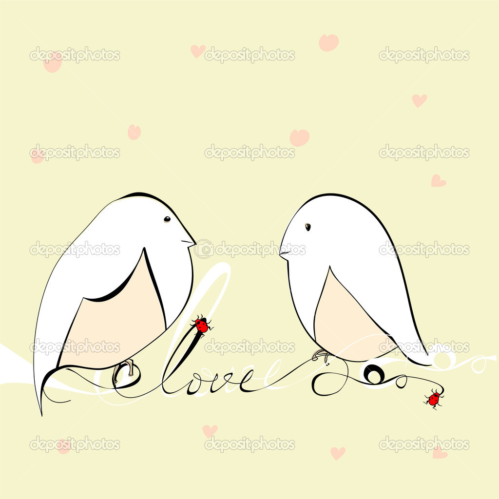 Two bird with inscription love  Imagen vectorial #7777694
