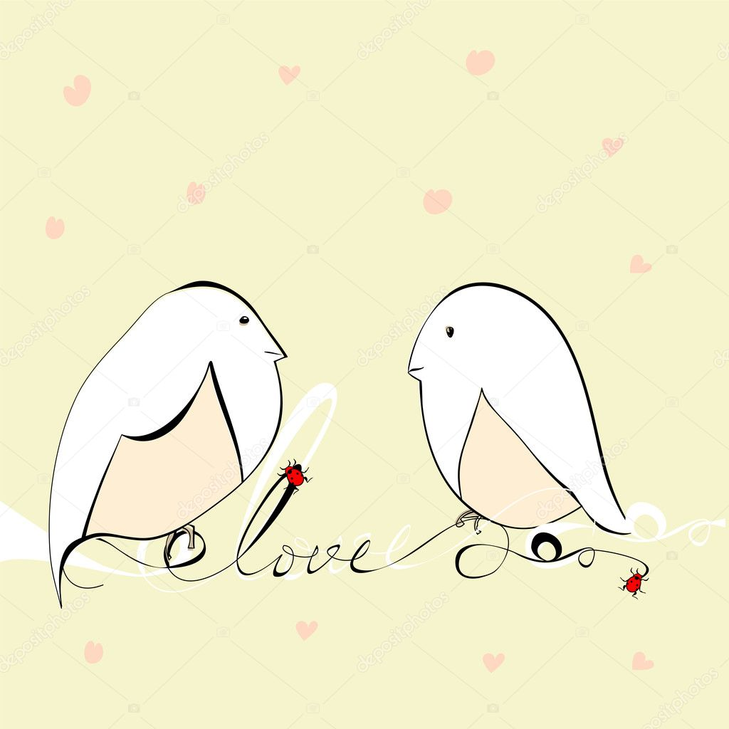 Two bird with inscription love — Image vectorielle #7777694