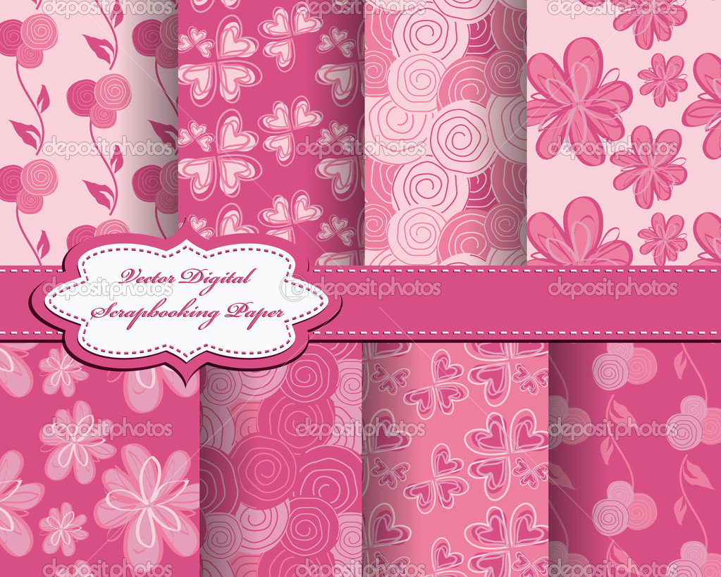 Set of flower vector paper for scrapbook — Stock Vector #6838920