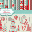 Set of Christmas vector paper and clip art for scrapbook — Stock Vector