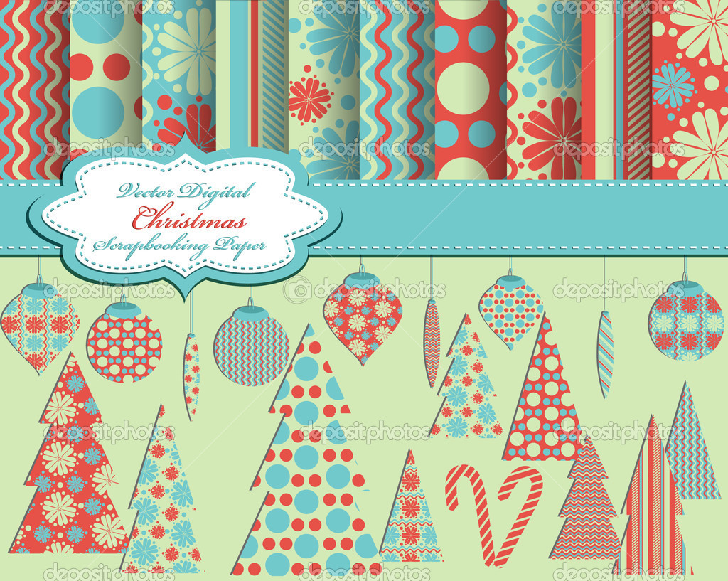 Set of Christmas vector paper and clip art for scrapbook — Stock Vector #6925889