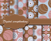 Set of vector flower paper for scrapbook — Stock Vector