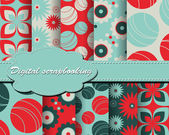 Set of vector flower paper for scrapbook — Vettoriale Stock