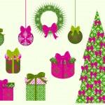 Set of Christmas vector clip art for scrapbook — Stock Vector