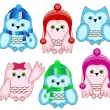 Set of vector cute winter wise owls on white background — Stockvectorbeeld