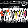 Stock Vector: Fashion Show Crowd Vector